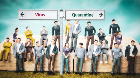 Street Sign the Way to Quarantine versus Virus Фото со стока