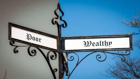 Street Sign the Direction Way to Wealthy versus Poor Stock fotó