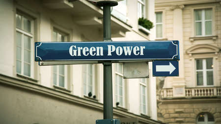Street Sign the Direction Way to Green Power Standard-Bild