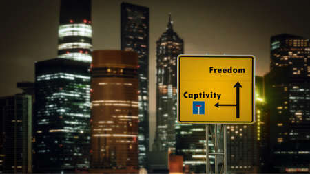 Street Sign the Direction Way to Freedom versus Captivity Standard-Bild