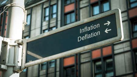 Street Sign the Direction Way to Inflation versus Deflation Reklamní fotografie