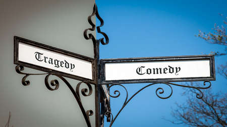 Street Sign the Direction Way to Comedy versus Tragedy Foto de archivo
