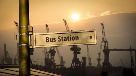 Street Sign the Direction Way to Bus Station Zdjęcie Seryjne