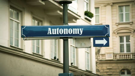 Street Sign the Direction Way to Autonomy 스톡 콘텐츠