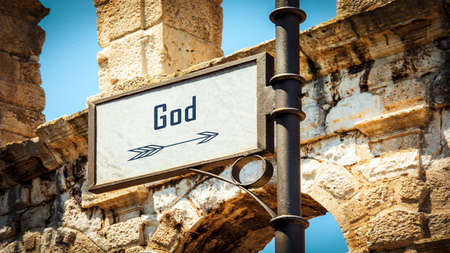 Street Sign the Direction Way to God 스톡 콘텐츠