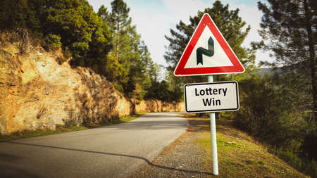Street Sign the Direction Way to Lottery Win 스톡 콘텐츠