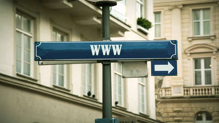 Street Sign the Direction Way to WWW