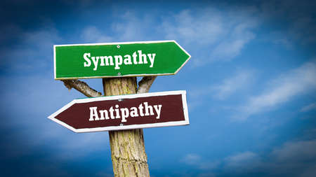 Street Sign the Direction Way to Sympathy versus Antipathy Banque d'images
