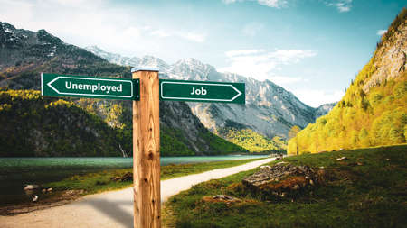 Street Sign the Direction Way to Job versus Unemployed Imagens