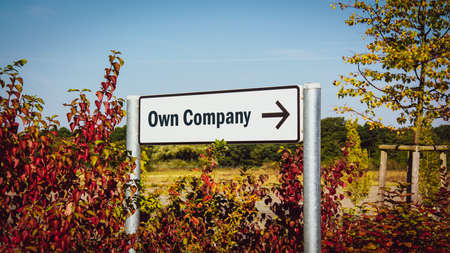 Street Sign the Direction Way to Own Company Imagens
