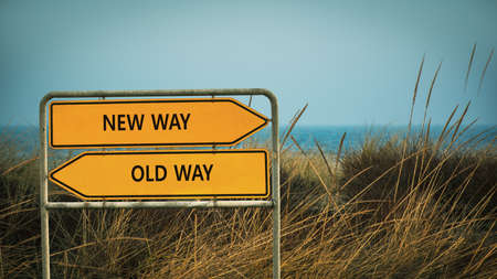 Street Sign the Direction Wy to NEW WAY versus OLD WAY Imagens
