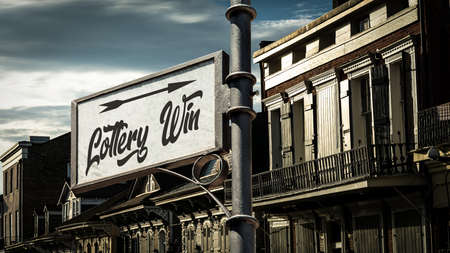 Street Sign the Direction Way to Lottery Win Archivio Fotografico