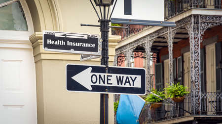 Street Sign the Direction Way to Health Insurance