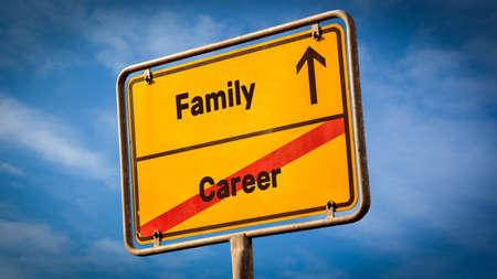 Street Sign the Direction Way to Family versus Career Archivio Fotografico