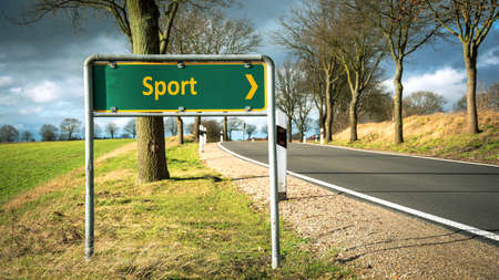 Street Sign the Direction Way to Sport Archivio Fotografico - 159457535