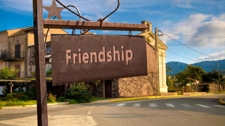 Street Sign the Direction Way to Friendship