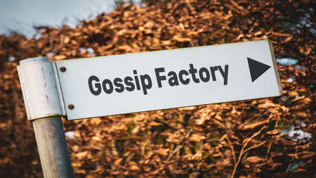 Street Sign the Direction Way to GOSSIP FACTORY