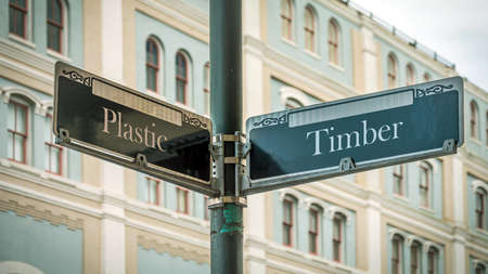 Street Sign the Direction Way to Timber versus Plastic Archivio Fotografico - 159458295