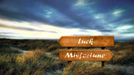 Street Sign the Direction Way to Luck versus Misfortune Archivio Fotografico - 159654765