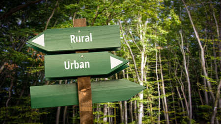 Street Sign the Direction Way to Urban versus Rural Archivio Fotografico - 159654952