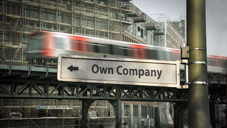 Street Sign the Direction Way to Own Company Stock fotó