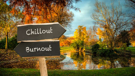 Street Sign the Direction Way to Chillout versus Burnout Stock fotó