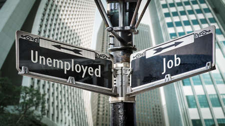 Street Sign the Direction Way to Job versus Unemployed
