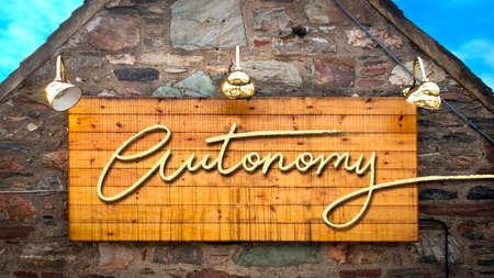 Street Sign the Direction Way to Autonomy Standard-Bild