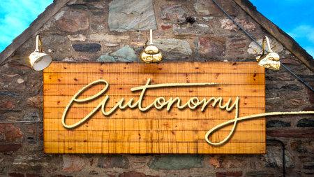 Street Sign the Direction Way to Autonomy Reklamní fotografie