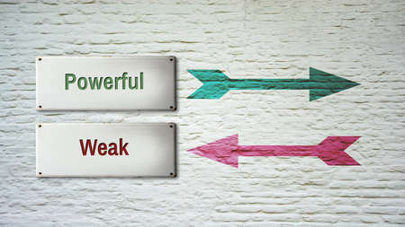Street Sign the Direction Way to Powerful versus Weak Standard-Bild