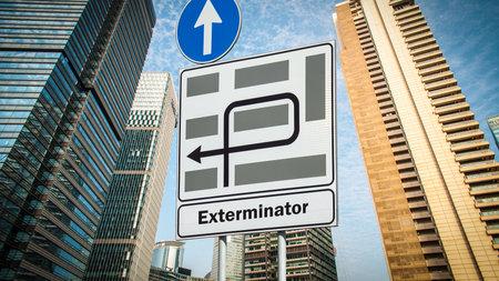 Street Sign the Direction Way to Exterminator Archivio Fotografico