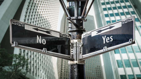 Street Sign the Direction Way to Yes versus No Archivio Fotografico
