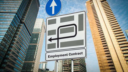 Street Sign the Direction Way to EMPLOYMENT CONTRACT Archivio Fotografico