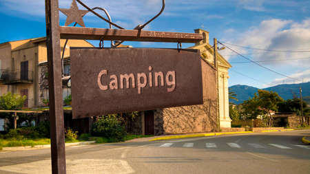 Street Sign the Direction Way to Camping