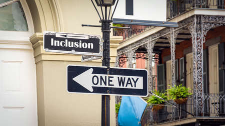 Street Sign the Direction Way to Inclusion Standard-Bild