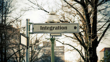 Street Sign the Direction Way to Integration