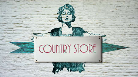 Street Sign the Direction Way to Country Store Stock Photo