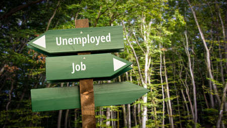 Street Sign the Direction Way to Job versus Unemployed 免版税图像
