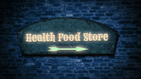 Street Sign the Direction Way to HEALTH FOOD STORE 免版税图像