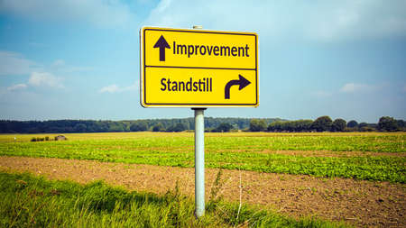 Street Sign the Direction Way to Improvement versus Standstill 免版税图像