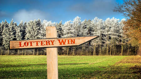 Street Sign the Direction Way to Lottery Win Stock fotó