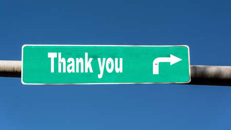 Street Sign the Direction Way to Thank You