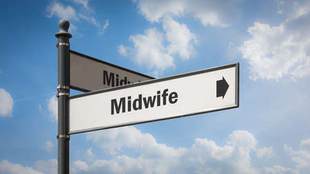 Street Sign the Direction Way to Midwife
