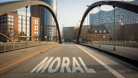 Street Sign the Direction Way to Morality