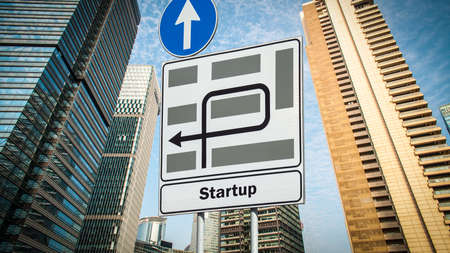 Street Sign the Direction Way to Startup Stock fotó