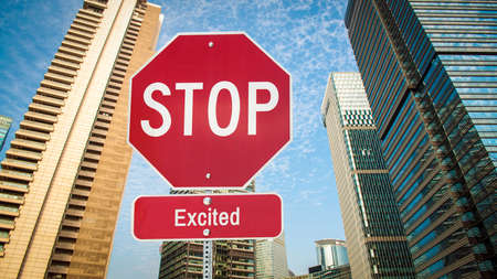 Street Sign the Direction Way to Calm versus Excited Stock fotó