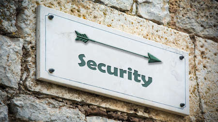 Street Sign the Direction Way to Security Archivio Fotografico