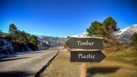 Street Sign the Direction Way to Timber versus Plastic Archivio Fotografico