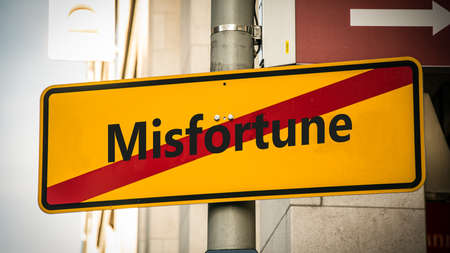 Street Sign the Direction Way to Luck versus Misfortune Stock Photo