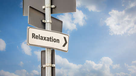Street Sign the Direction Way to Relaxation Stock Photo